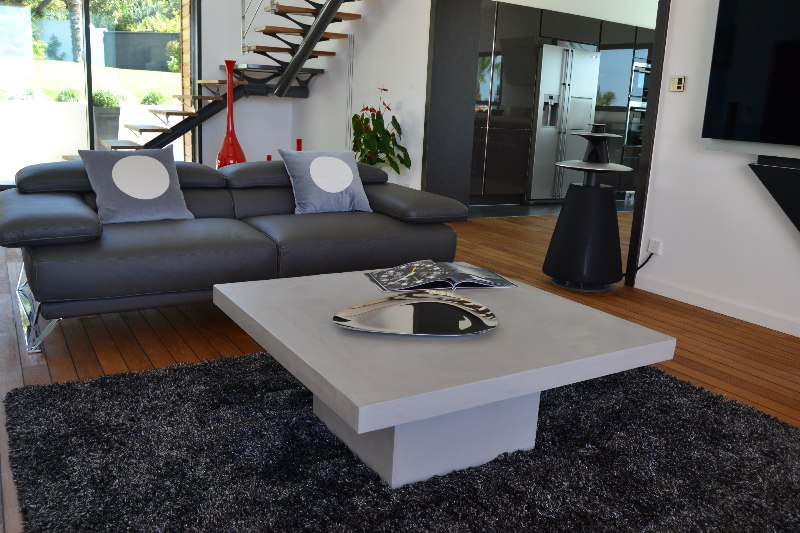 Dune 2 table b ton cir carr e design contemporain for Table basse effet beton