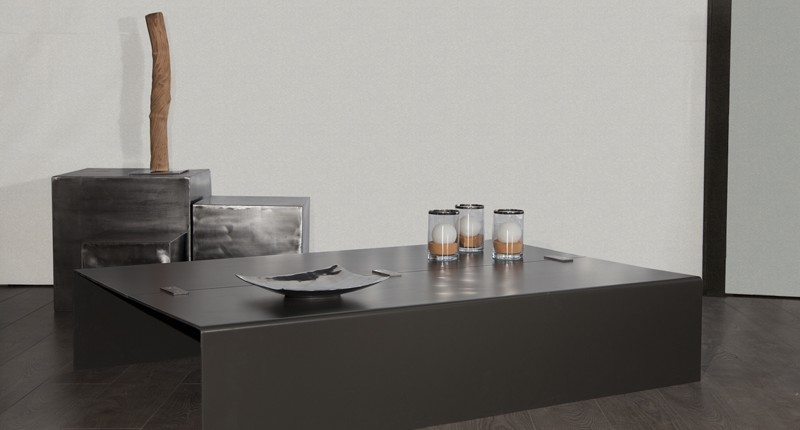 LINEA - Table basse acier design industriel