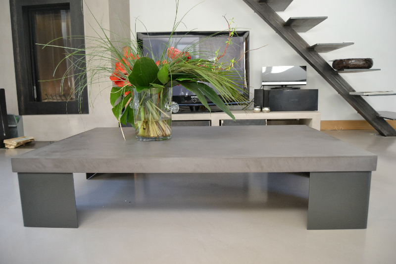Zen table basse b ton et pieds thermolaqu s design for Pieds de table basse design