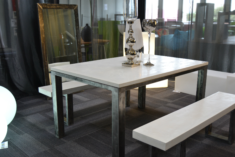 Citiz table manger b ton cir et acier design industriel - Table en beton cire ...